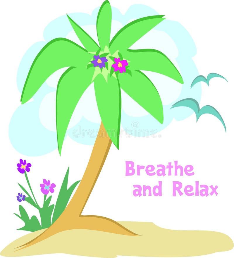 Palmeira com as gaivotas a relaxar ilustração stock