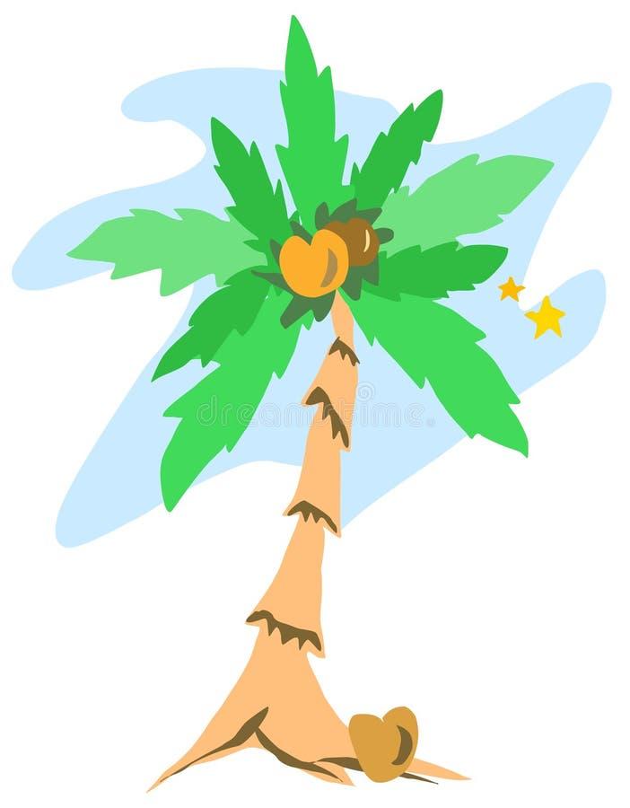 Palmeira com estrelas ilustração do vetor