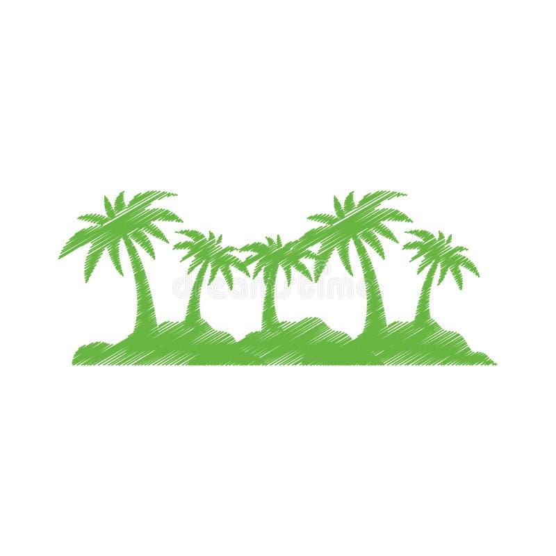 Palmeira da ilha ilustração royalty free
