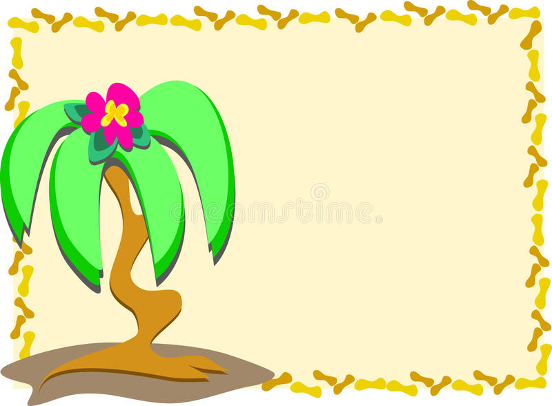 Palmeira e flor quadro ilustração royalty free