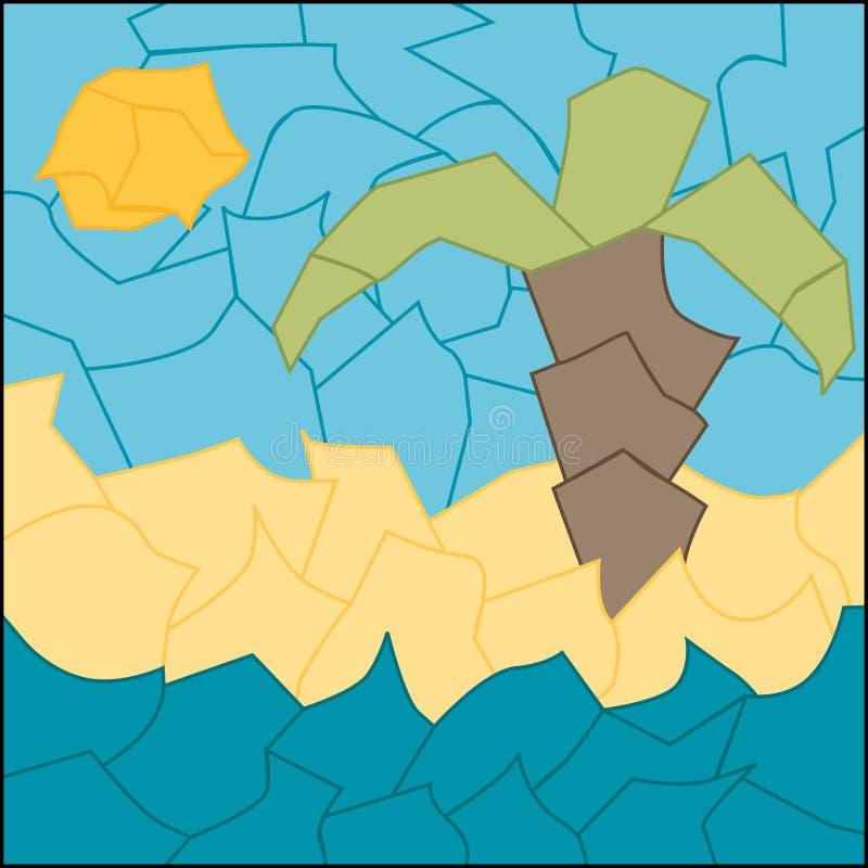 Palmeira e o mar ilustração do vetor