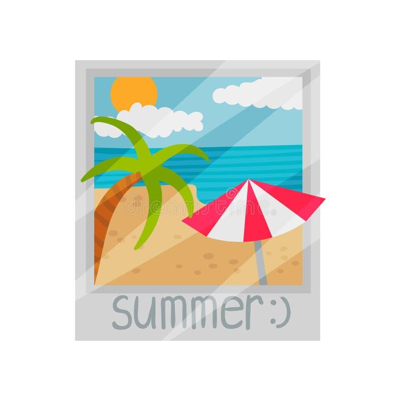 Palmeira e parasol na praia Ilustra??o do vetor no fundo branco ilustração royalty free