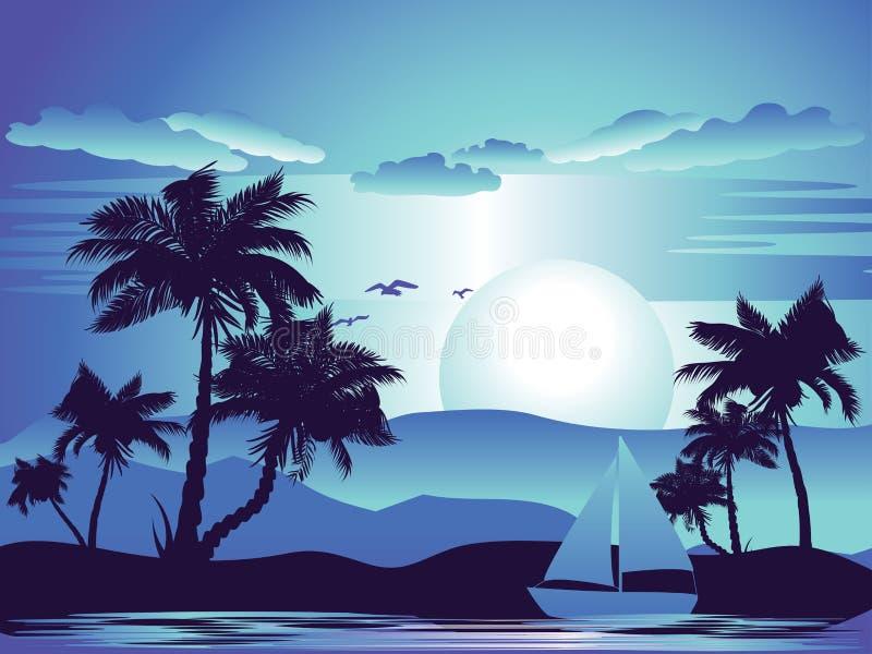 Palmeira na noite ilustração do vetor