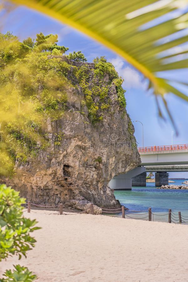 A palmeira no Sandy Beach Naminoue cobriu por uma rocha enorme com um santu?rio xinto?smo na parte superior de um penhasco e de u fotografia de stock royalty free