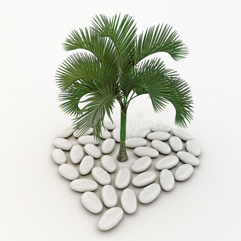 Palmeira que está no meio do symb do coração ilustração royalty free