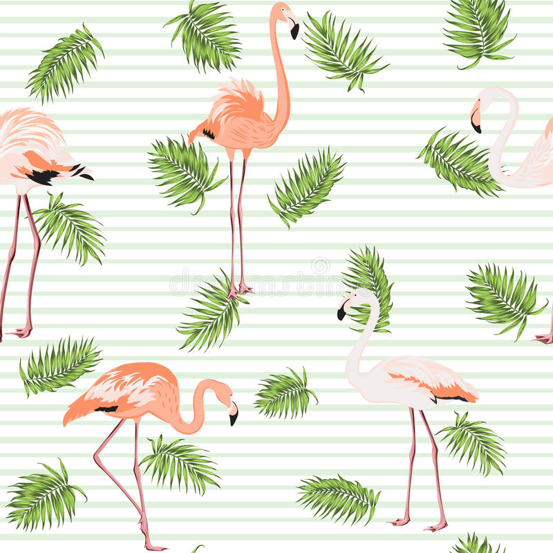 A palmeira sae flamingos cor-de-rosa de listras do teste padrão ilustração stock