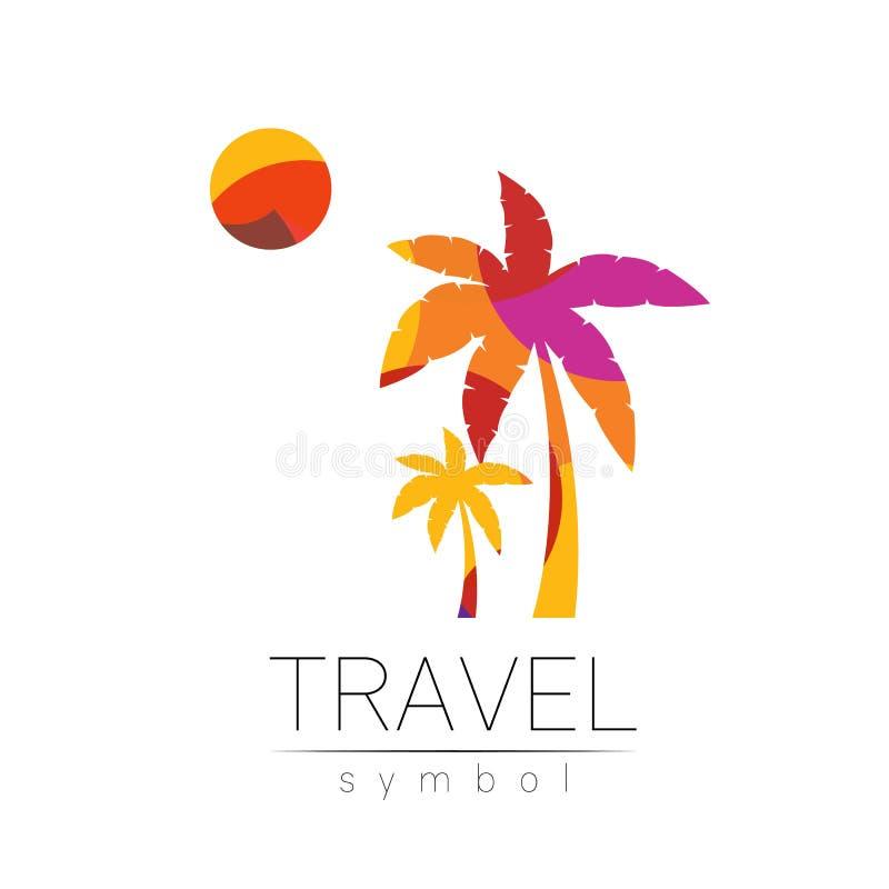 Palmeira, silhueta do vetor do sol isolada no fundo branco Símbolo de Palma, estilo moderno amarelo da cor Logotype para ilustração stock