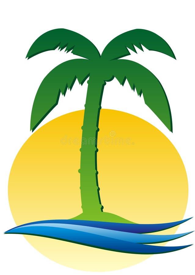 Palmeira, sol e água ilustração stock