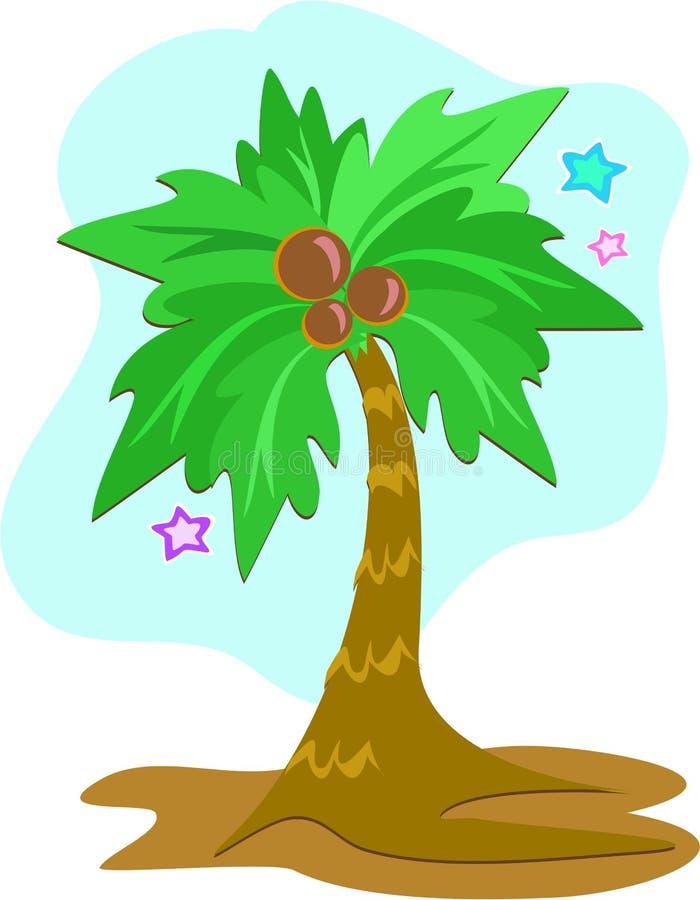 Palmeira tropical com cocos ilustração stock