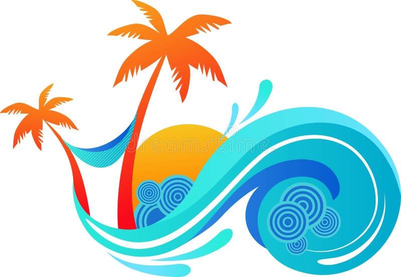 Palmeiras e onda de oceano ilustração do vetor
