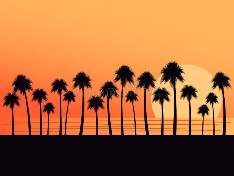 Palmeiras em um fundo do por do sol Paisagem tropical, férias da praia Vetor ilustração stock