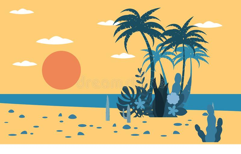 Palmeiras tropicais do por do sol da praia do oceano da paisagem, fundo da flora das plantas para a bandeira, cartão, molde do ca ilustração royalty free