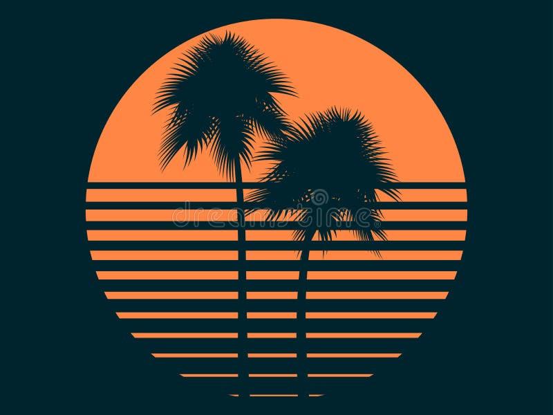Palmeiras tropicais no sol Por do sol do ver?o Projeto da c?pia para o t-shirt Vetor ilustração stock