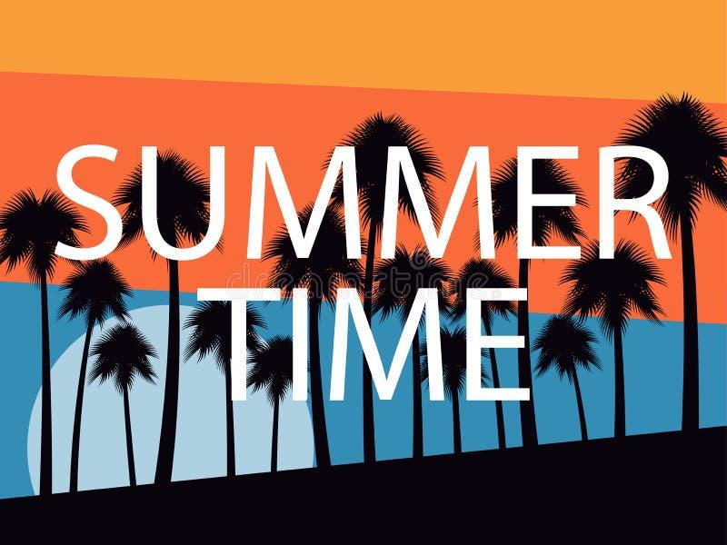 Palmen auf einem Sonnenunterganghintergrund Junge Erwachsene Tropische Landschaft, Strandferien Vektor lizenzfreie abbildung