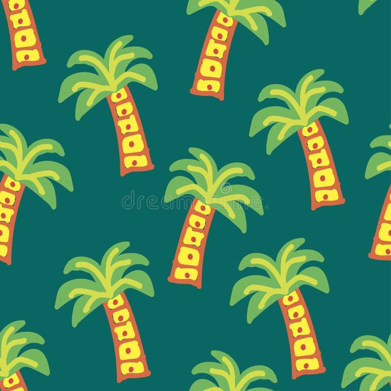 Palmen auf einer grünen Farbe lizenzfreie abbildung