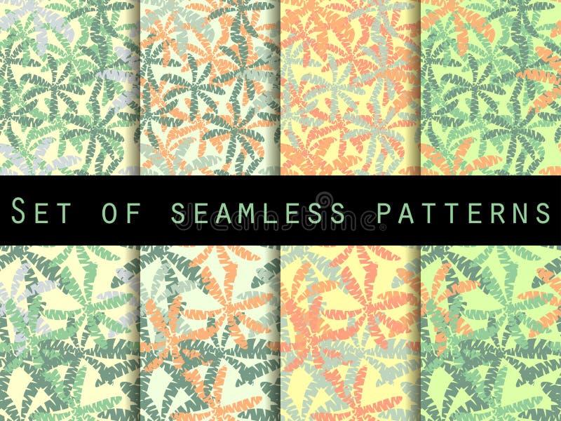 Palmen, bladeren van palm Reeks naadloze patronen Het patroon voor behang, bedlinnen, tegels, stoffen, achtergronden stock illustratie