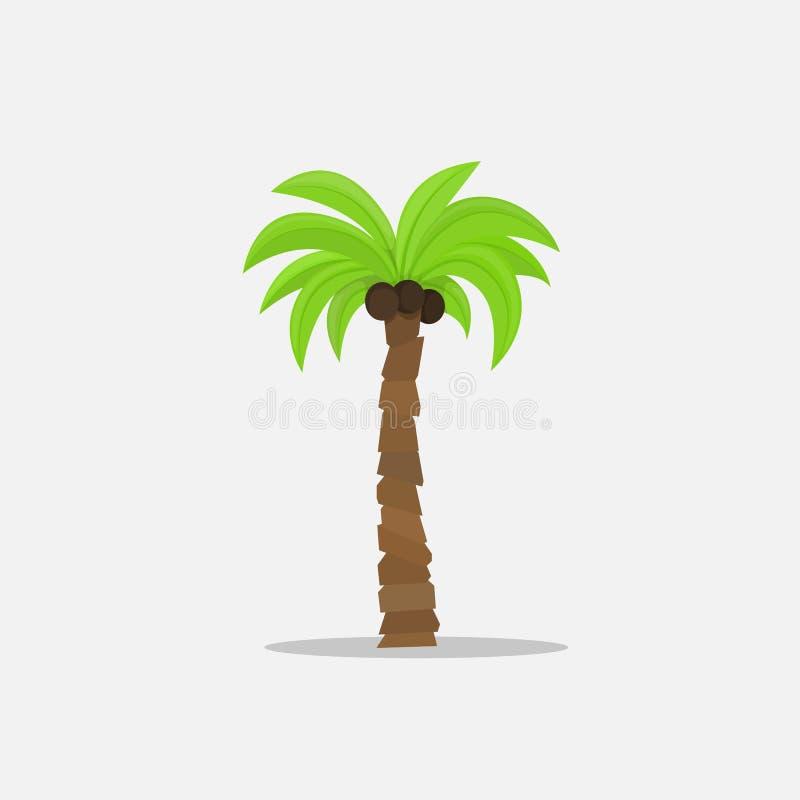 Palmen in der Karikaturart auf weißem Hintergrund Vector Illustration Tropische Sommerbaumanlage auf Natur für stock abbildung