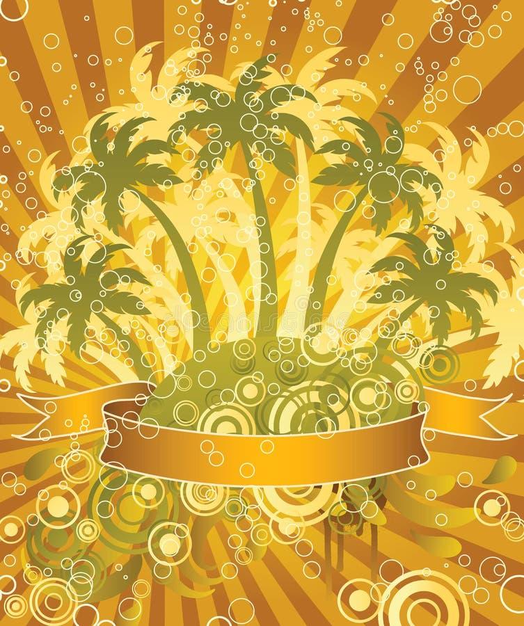 Palmen en bellen. vector illustratie