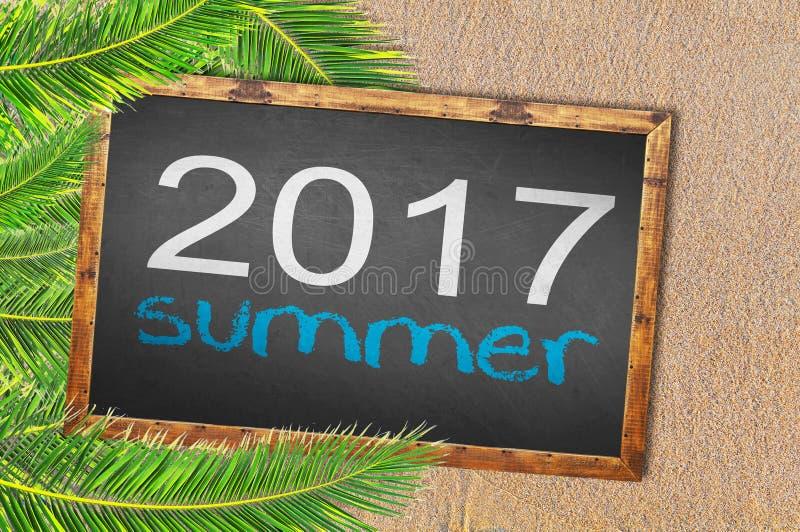 Palmen en de zomer van 2017 op bord wordt geschreven dat vector illustratie