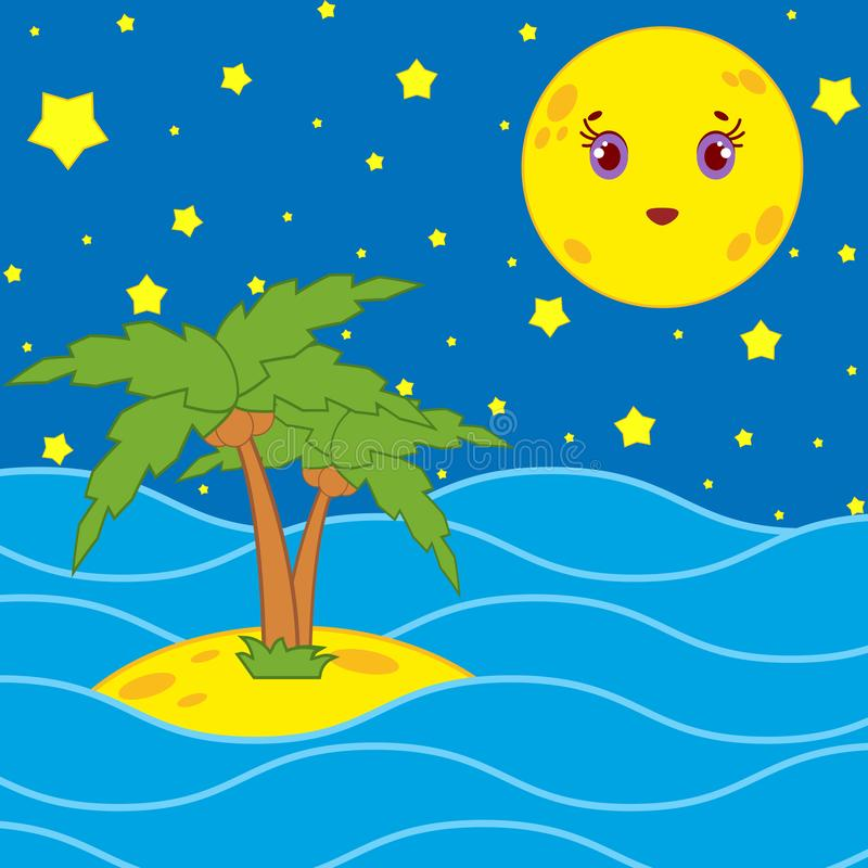Palmen en een beeldverhaalmaan in de nachthemel met sterren vector illustratie