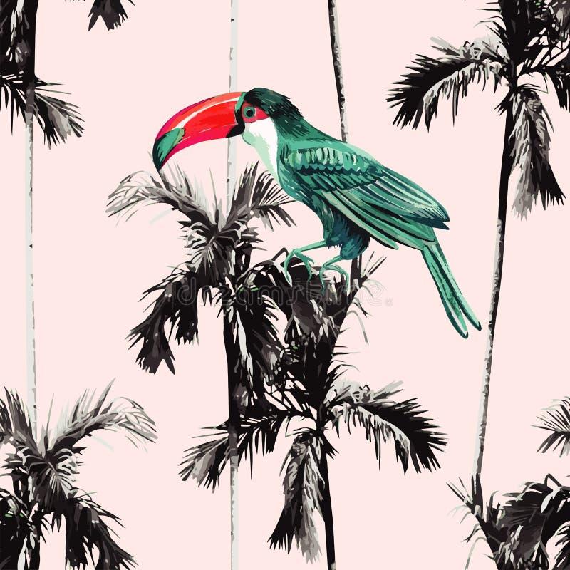 Palmen en toekan naadloze achtergrond royalty-vrije stock afbeeldingen
