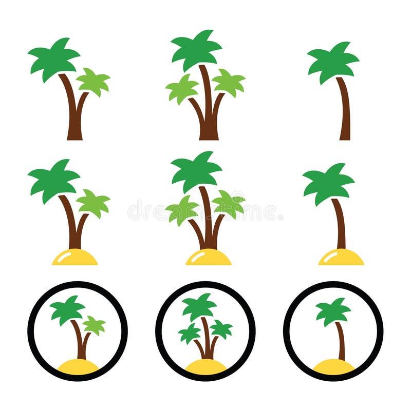 Download Palmen, Exotische Vakantie Kleurrijke Pictogrammen Stock Illustratie - Illustratie bestaande uit blad, strand: 39103840