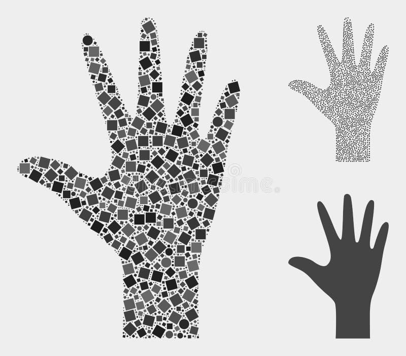 Palmen-Finger-Ikonen-Mosaiken von Quadraten und von Kreisen stock abbildung