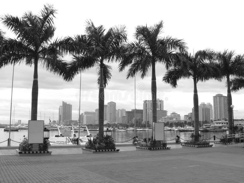 Palmen in het midden van de Horizon van de Baai van Manilla stock afbeeldingen