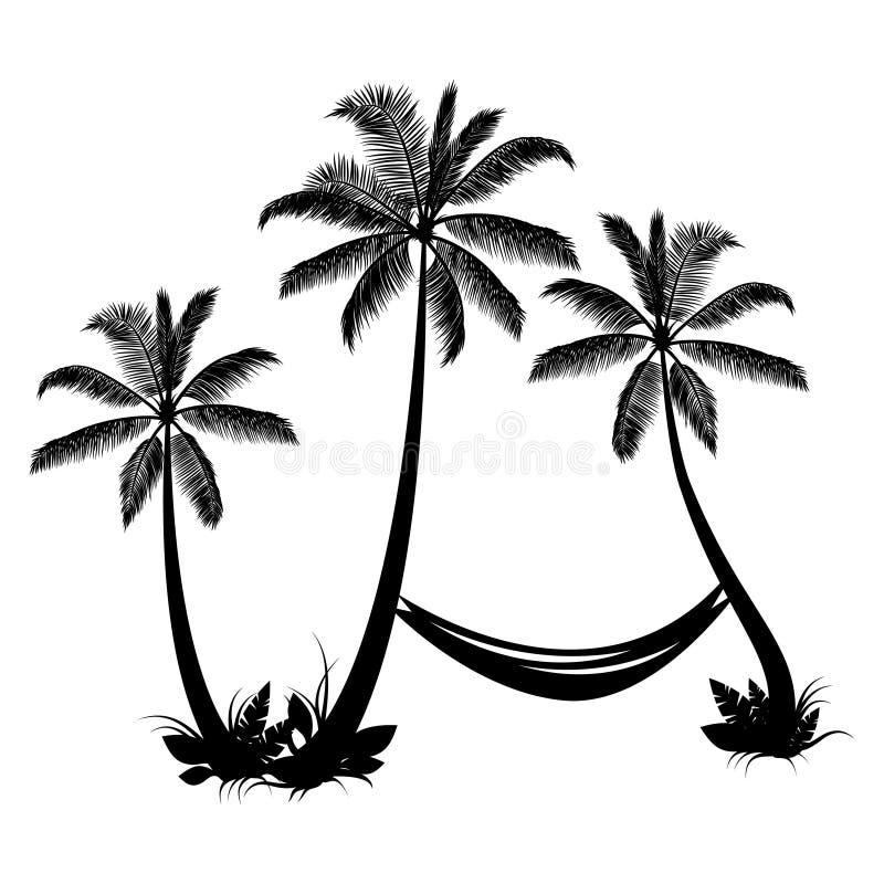 Palmen met hangmat stock illustratie