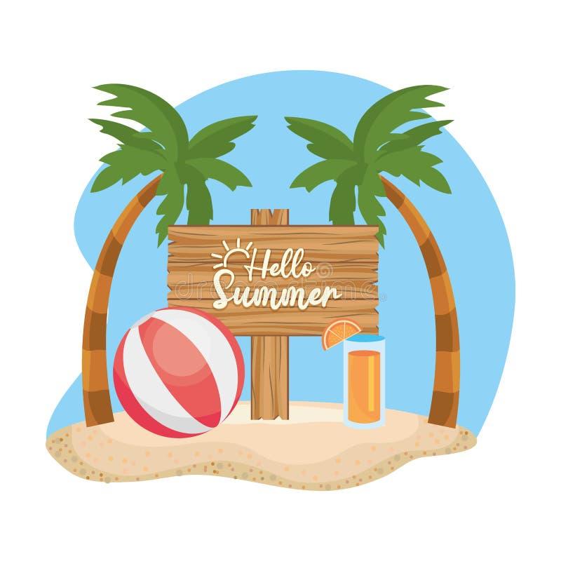 Palmen mit Ball- und Saftgetränk mit hölzernem Emblem stock abbildung