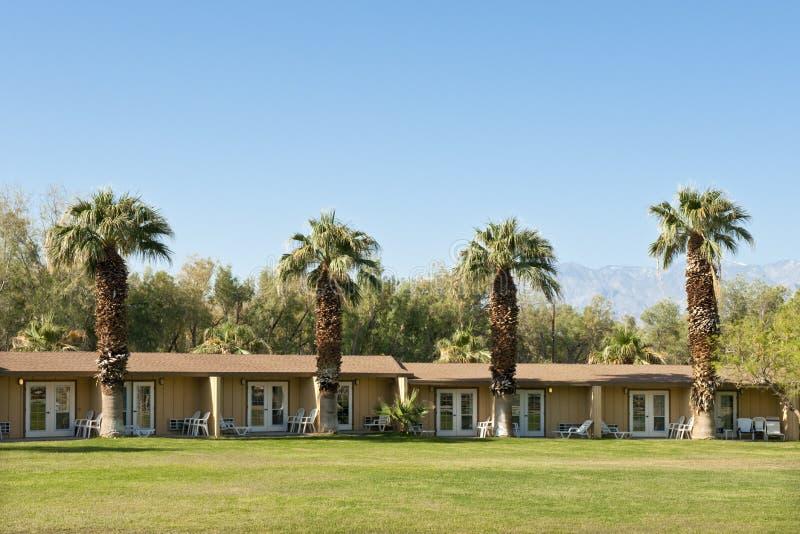Palmen nähern sich niedrigem Gebäude stockfoto