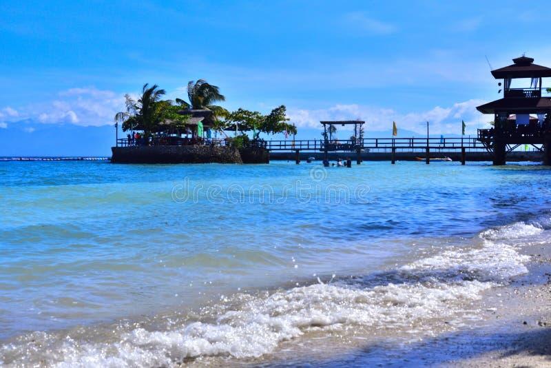 Palmen onder het blauwe skyBeautiful strand in Samal, Filippijnen stock foto