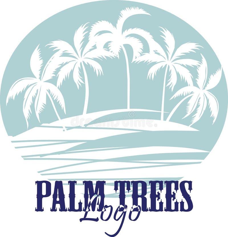 Palmen op het Strandembleem Silhouet - vector vector illustratie