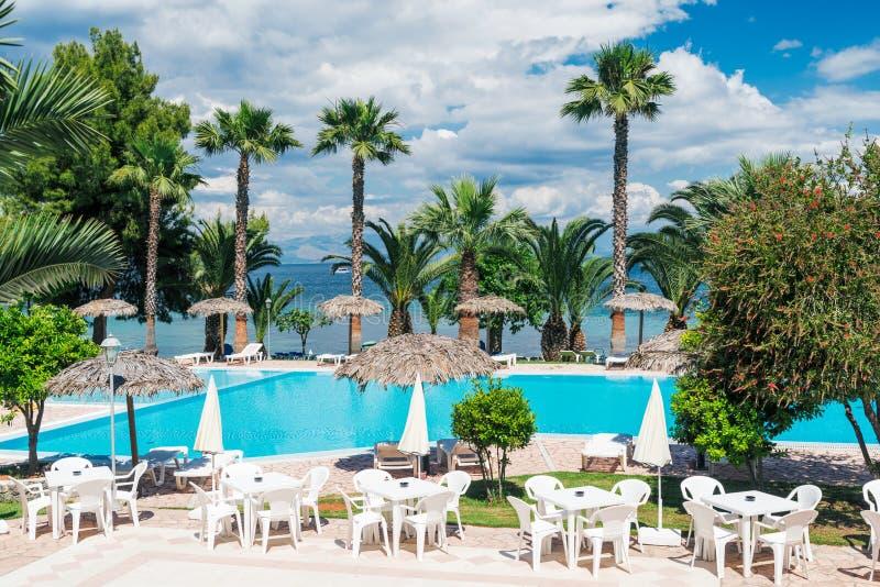 Palmen, strand sunbeds en paraplu's dichtbij de pool door het overzees in zonnige dag royalty-vrije stock afbeeldingen