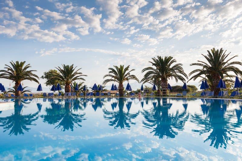 Palmen, Strand sunbeds und Regenschirme nahe dem Pool durch das Meer lizenzfreie stockfotografie