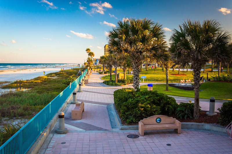 Palmen und Gehweg entlang dem Strand in Daytona Beach, Florida lizenzfreies stockfoto