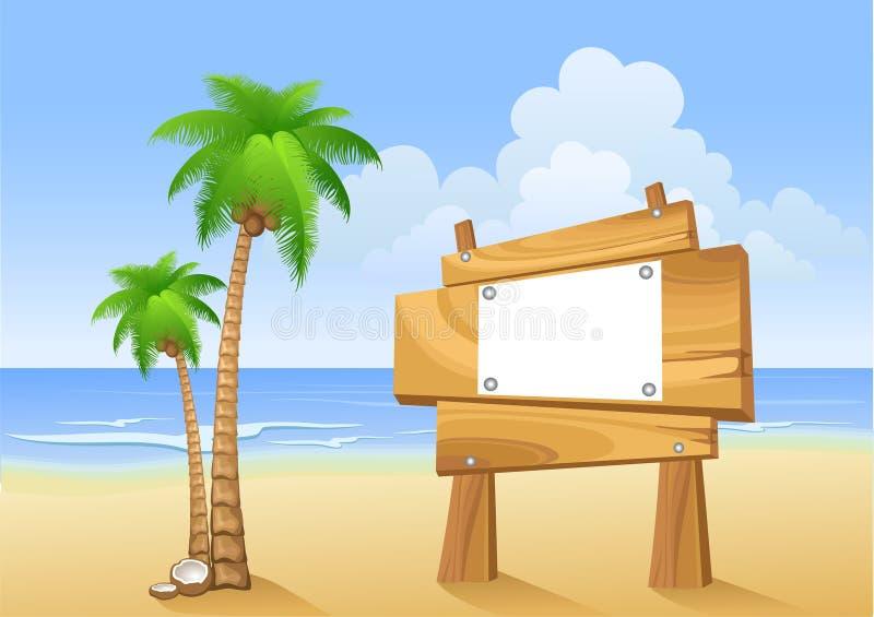 Palmen und hölzernes Zeichen lizenzfreie abbildung