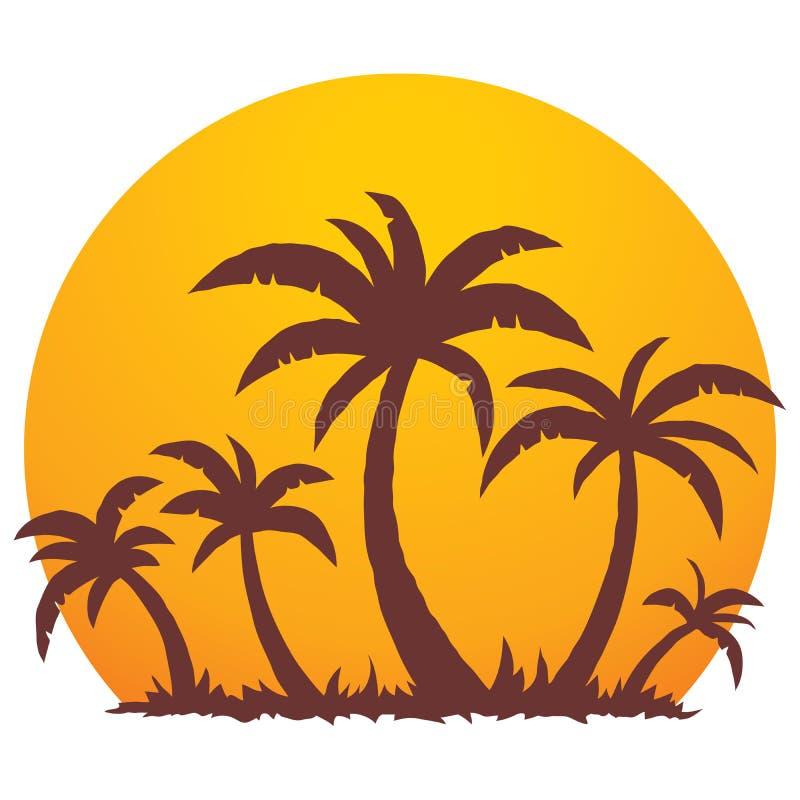 Palmen und Sommer-Sonnenuntergang lizenzfreie abbildung