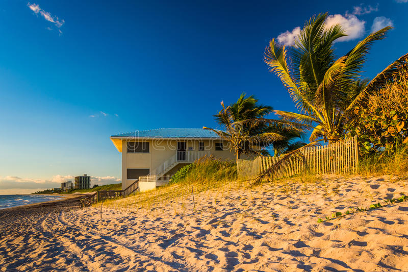 Palmen und Strandhaus auf Jupiter Island, Florida stockfoto