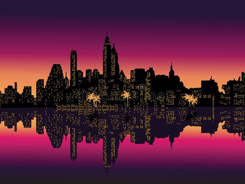 Palmen van de Stad van de Nacht van de spiegel de Purpere. vector illustratie