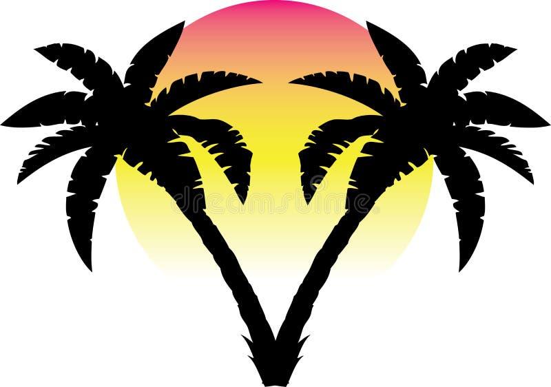 Palmen voor zonsondergang vector illustratie