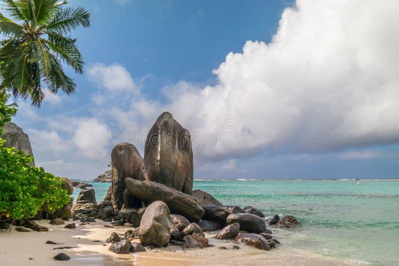 Palmen, wit zand en turkooise overzees bij Sprookjeslandstrand, Seychellen Afrika stock afbeelding