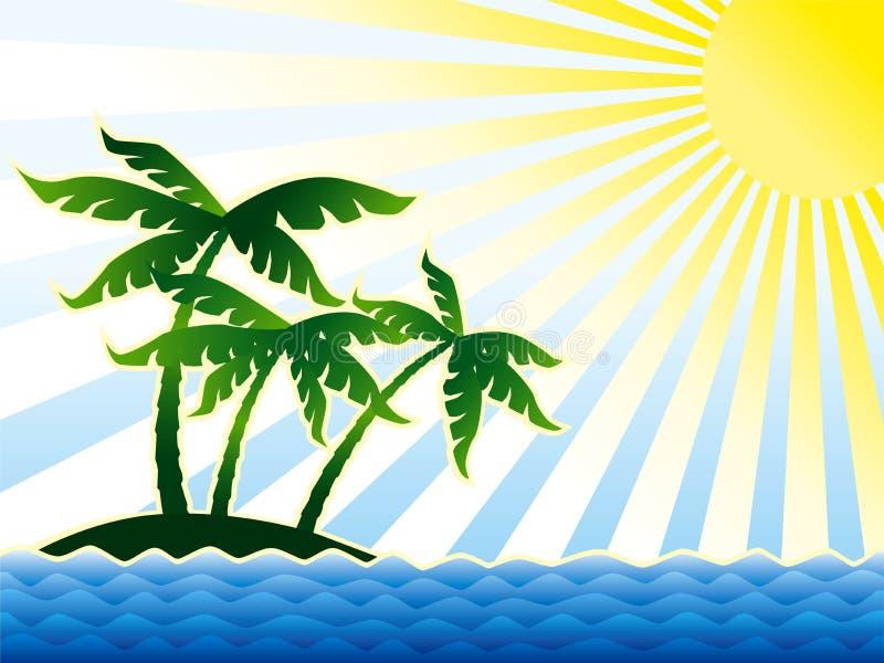 Palmen, zon & oceaan vector illustratie