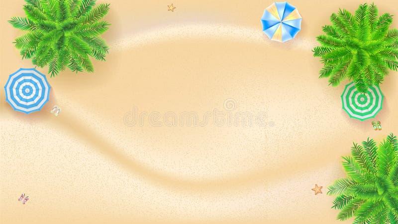 Palmen, zonparaplu's, tropisch landschap met gouden zand, hoogste mening Afficheontwerp van de Zomervakantie horizontaal stock illustratie