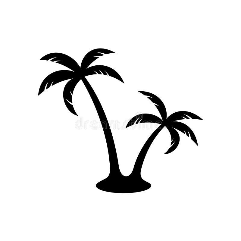 Palmen zwart silhouet stock illustratie