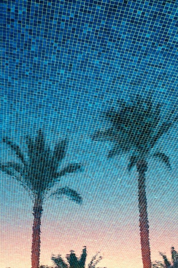 Palmenbezinning op blauwe de tijdachtergrond van de waterzomer royalty-vrije stock afbeelding