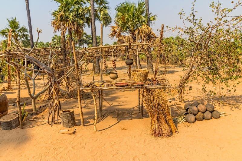 Palmenfrüchte Und Das Tongefäß Stockfoto