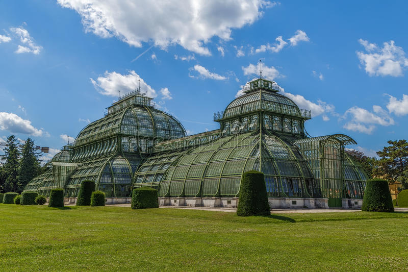 Palmenhaus Schonbrunn, Vienna. The Palmenhaus Schonbrunn is a large greenhouse in Vienna, Austria, featuring plants from around the world. It was opened in 1882 stock photo
