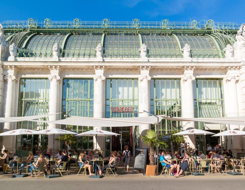 Palmenhauskoffie in Burggarten, Wenen, Oostenrijk royalty-vrije stock afbeelding