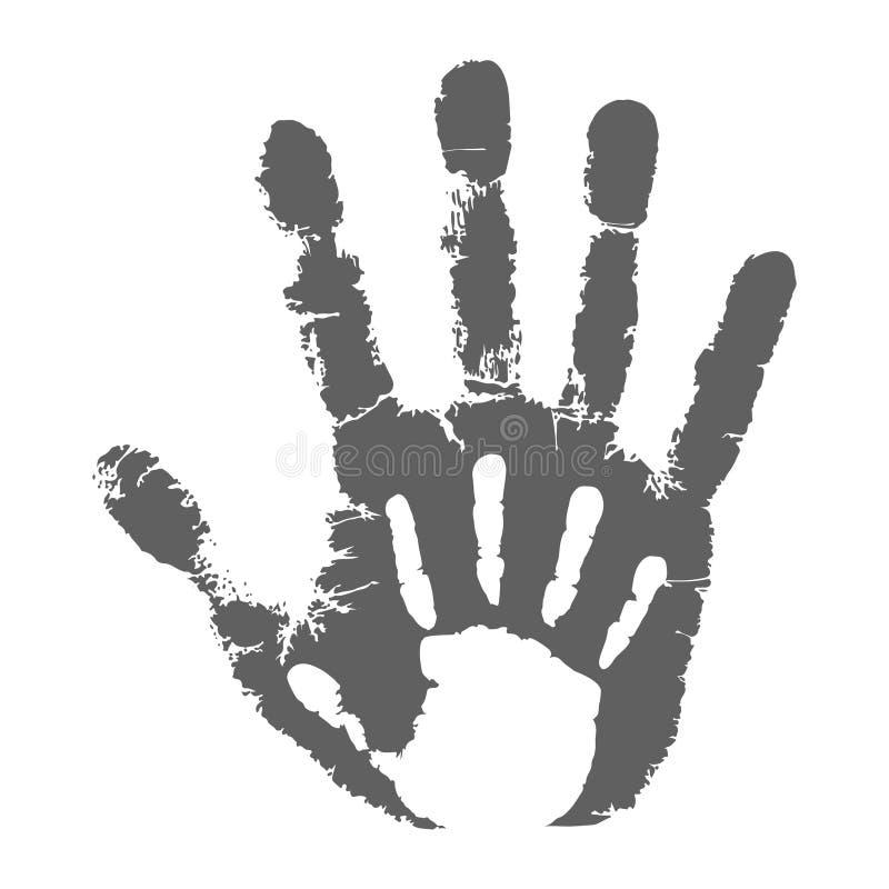 Palmenkind auf dem erwachsenen Mann der Palme lizenzfreie abbildung